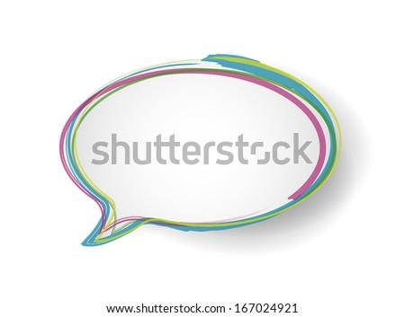 scribble border message bubble illustration design over a white background - stock photo