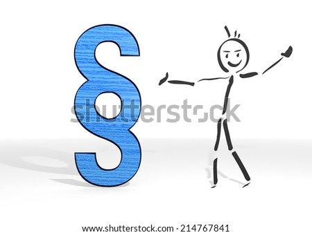 scribble stick man presents a law sign white background - stock photo