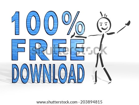 scribble stick man presents a 100 percent free download sign white background - stock photo