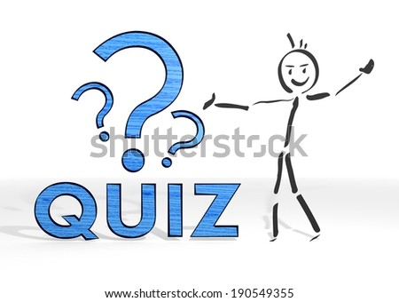 scribble stick man presents a quiz sign white background - stock photo