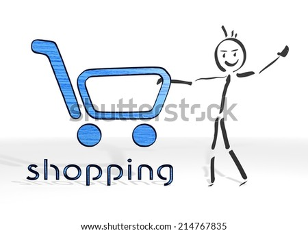 scribble stick man presents a shopping sign white background - stock photo