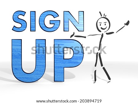 scribble stick man presents a sign up white background - stock photo