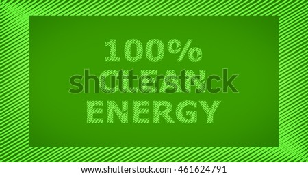 Scribble text on green background - 100% CLEAN ENERGY