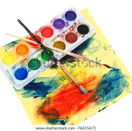 Scribbles painted by a little girl - stock photo