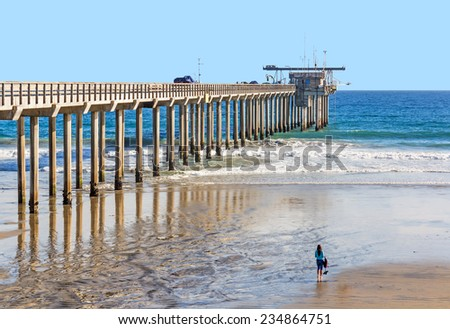Scripps Pier Institute of Oceanography, La Jolla, San Diego, California. A large research pier, this tall concrete structure is used to study ocean conditions and marine biology. Waves and wet sand.   - stock photo
