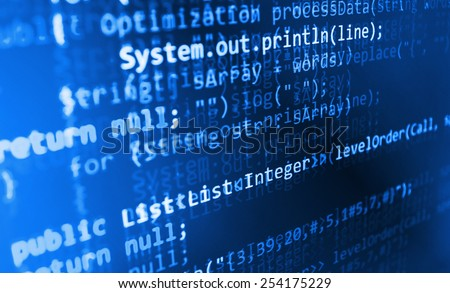 Script on computer. Modern display of data source code. Programming code abstract screen of software developer.  Blue color.  - stock photo