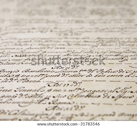 script writing from a sheet of art paper - stock photo