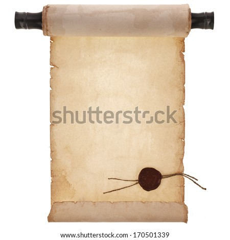 scroll ancient antique paper with a wax seal surface close up isolated on a white background  - stock photo