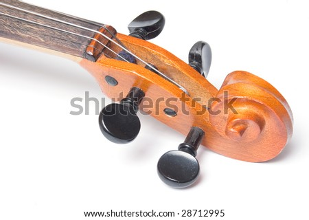Scroll of classical violin close up isolated on white background - stock photo