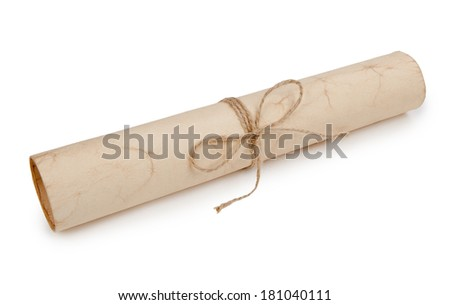 Scroll of old paper tied with a rope