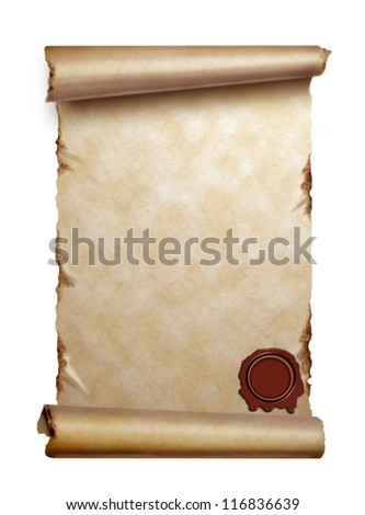 Scroll of old paper with curled edges and wax seal isolated on white - stock photo