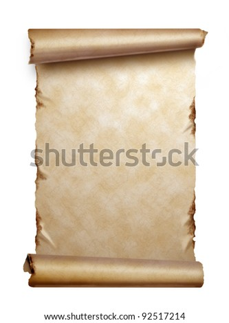 Scroll of old paper with curled edges isolated on white