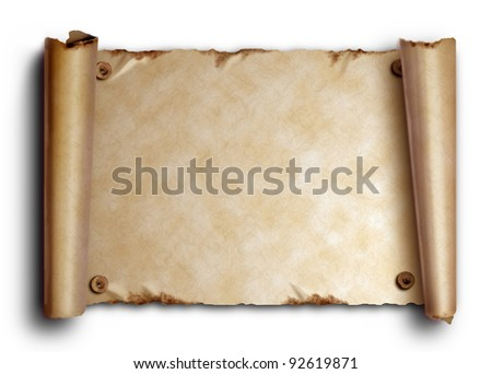 Scroll of old paper with rounded edges and nails on a white background with shadow - stock photo