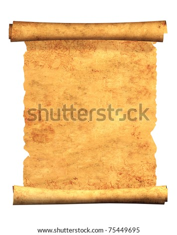 Scroll of old parchment. Object isolated over white - stock photo
