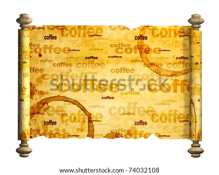 Scroll of old parchment. Object over white - stock photo