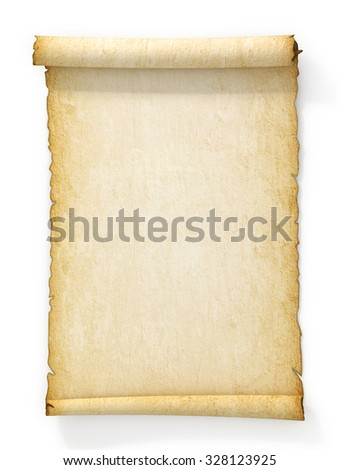 Scroll of old yellowed paper on white background. - stock photo