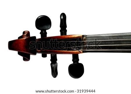 scroll of violin isolated on white background - stock photo