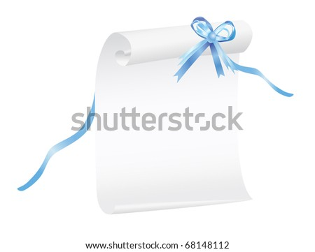 Scroll of white paper with a blue ribbon, suitable for a background. Illustration, JPG-version - stock photo