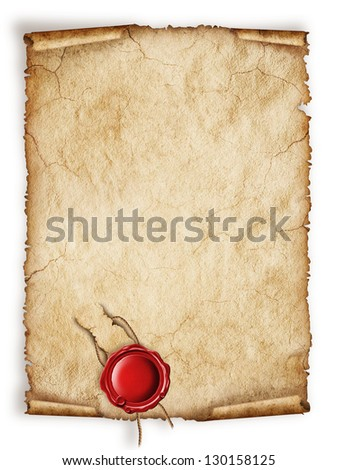 Scroll old paper sheet, Vintage aged old paper with red wax seal separated on white  Original background or texture
