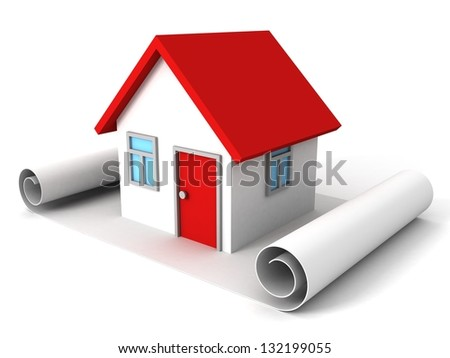 scroll paper plan and house of dream - stock photo