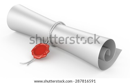 scroll paper with a wax seal on a white background - stock photo