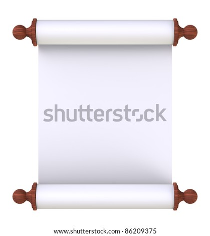 Scroll paper with wooden handles over white - stock photo