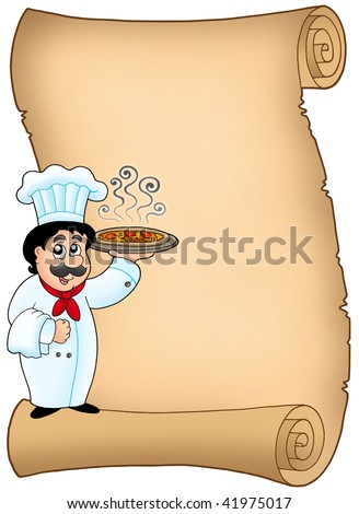 Scroll with chef holding pizza - color illustration.