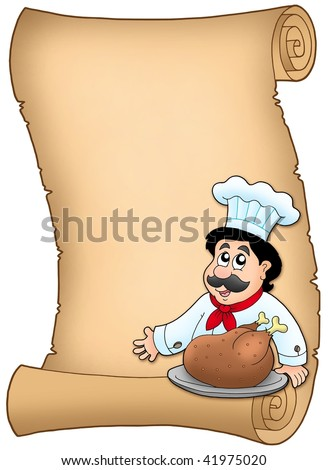 Scroll with chef with roasted meat - color illustration.