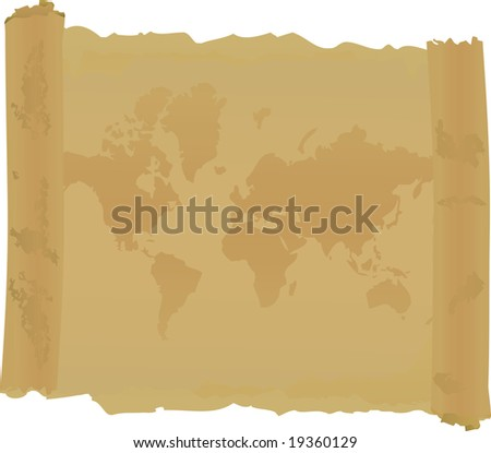 Scroll with  map of world. Vector illustration