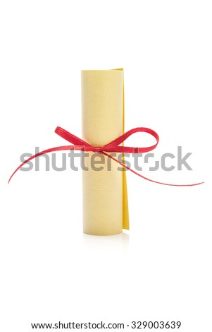 Scroll with Red Ribbon Isolated on White Background - stock photo