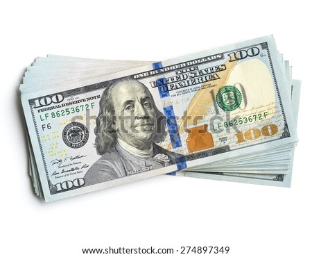 scrolled stack of  dollar bills - stock photo