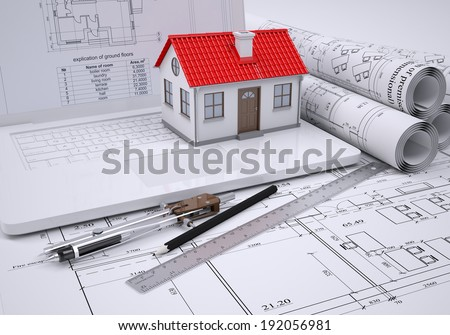 Scrolls architectural drawings and small house. architect concept - stock photo