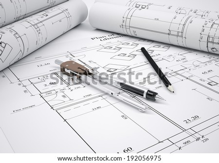 Scrolls architectural drawings and tools. architect concept