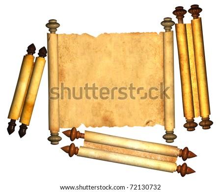Scrolls of old parchment. Objects isolated over white - stock photo