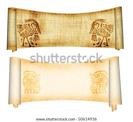 Scrolls with American Indian national patterns. Isolated over white - stock photo
