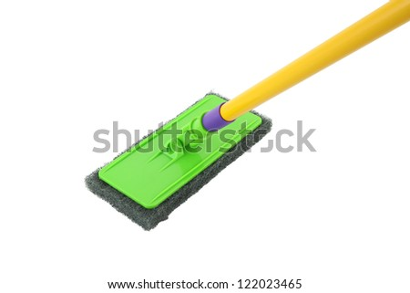 Scrub mob for cleaning on white background. - stock photo