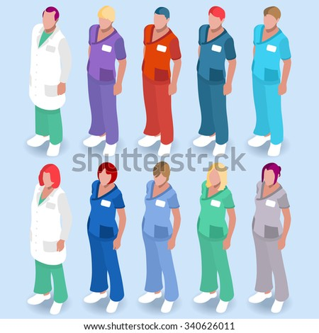 Scrubs Nursing and Physician Uniforms. Hospital Clinic Color Code to Recognize Staff. Health Care Isometric Male and Female Nurse or Doctor