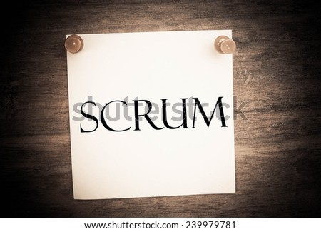 scrum text write on wall  - stock photo