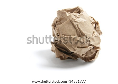 Scrunched Paper Bag on Isolated White Background - stock photo