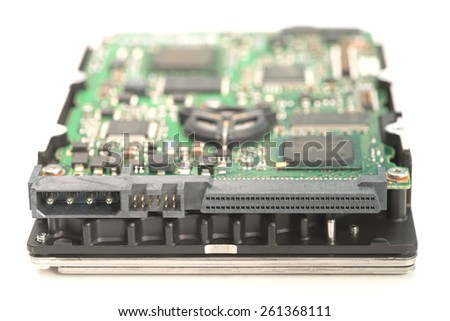 SCSI interface HDD upside down showing controller PCB - stock photo