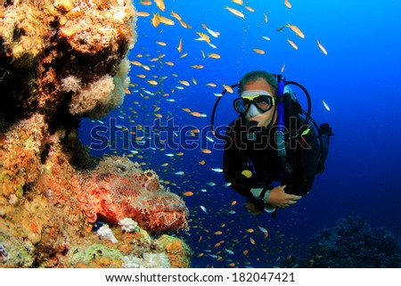Scuba diver and scorpionfish - stock photo