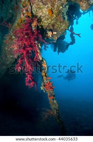 Scuba Diver around Wreck - stock photo