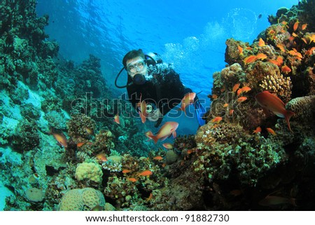 Scuba Diver explores Coral Reef - stock photo