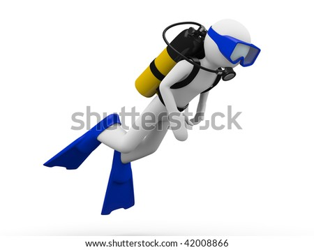 Scuba diver (men at work series) - stock photo