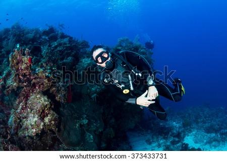 SCUBA diver on a dark coral reef - stock photo