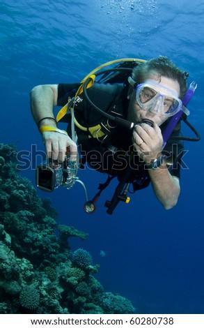 scuba diver portraite - stock photo