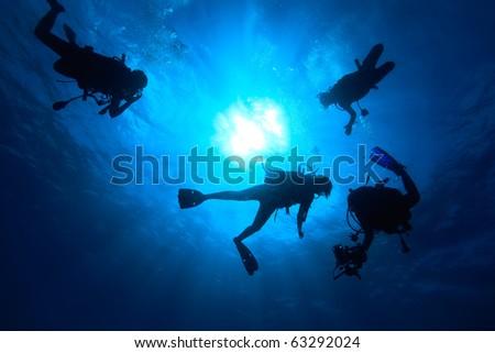 Scuba diver swimming in the sea - stock photo