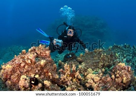 Scuba Diver taking pictures on a Hawaiian Reef - stock photo