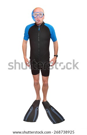 Scuba diver with diving mask, wetsuit and flippers isolated on a white background.  - stock photo