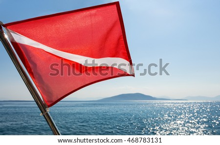 Scuba divers flag waving on a boat